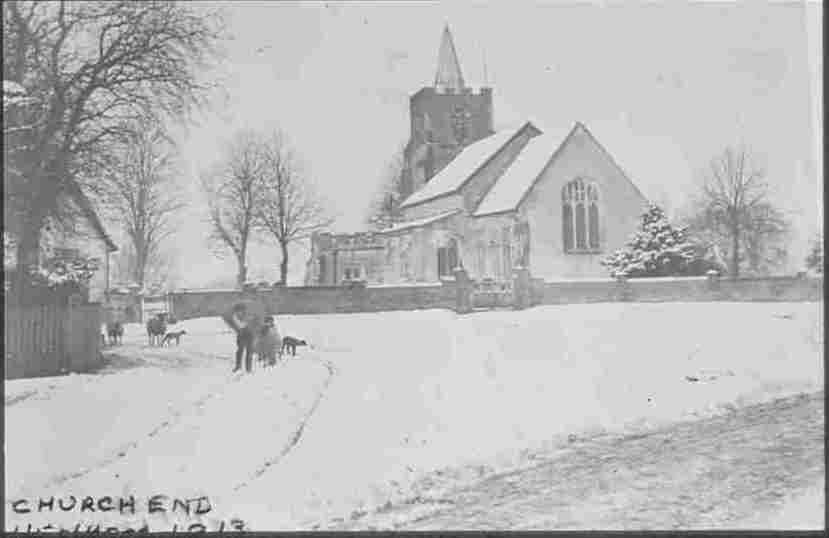 1913 church in snow