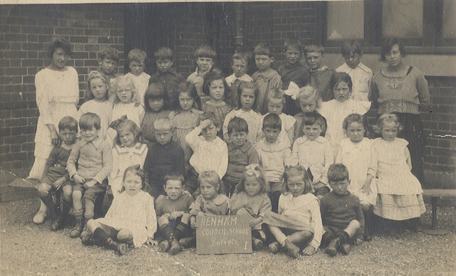 School Photograph of 1921, in the centre of the second row down is Jesse Barker