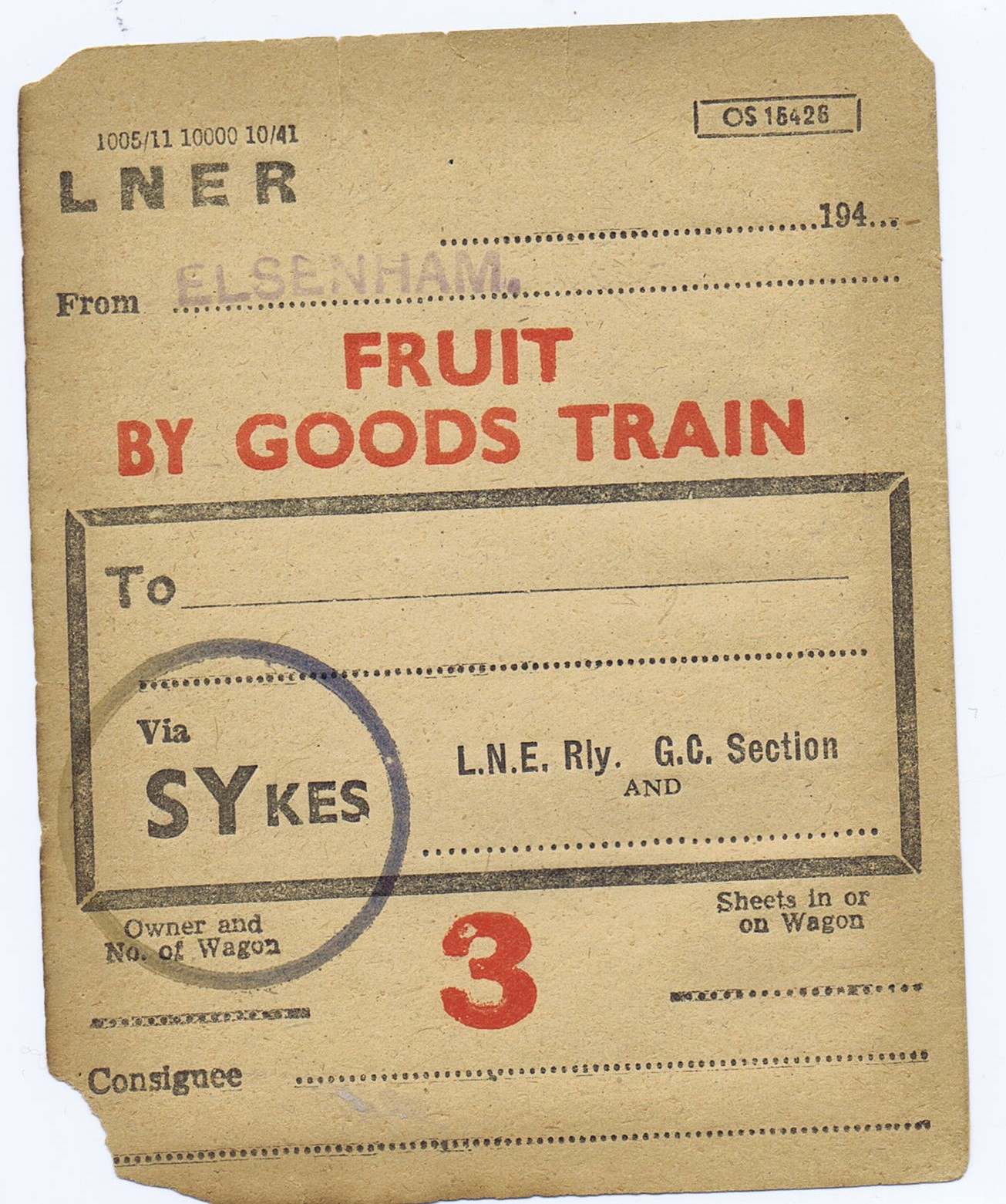 Fruit Goods Label heading for London